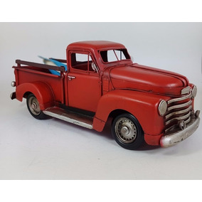 Camioneta Pick Up Roja Con Tablas Surf Miniatura - Chapa