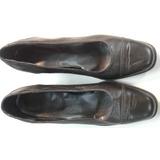 Zapatos Taco Bajo Mujer Talle 39 Negro Cuero