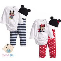 Bebê Conjunto Body Calça Toca Enxoval Disney Mickey Minnie