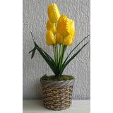Arranjo De Flores Artificiais-tulipa Amarela- 45 Cm