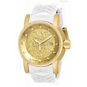 Relógio Dourado Invicta Yakuza Branc Automatico Prova D Agua