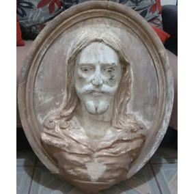 Ovalo Labrado En Madera Sagrado Corazón De Jesus , Año 1840