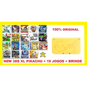 New 3ds Xl Pikachu+19 Jogos+sd 32gb+ Brindes