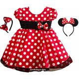 Vestido Infantil Festa Luxo Minnie Vermelha 1-4 E Tiara Mini