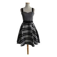 Vestido Pin Up Plato Cotton Saten Gris Escocés Retro Vintage