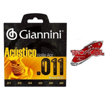 Encordoamento Giannini S.acústico Violão Aço 011caixa Com 12