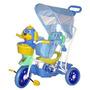 Triciclo Infantil C/ Capota 2 Em 1 Carrinho De Bebê Criança