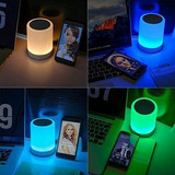Bocina Bluetooth Touch Luz Led Micro Sd Lampara