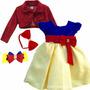 Vestido Infantil Festa Branca De Neve Com 2 Tiara E Bolero