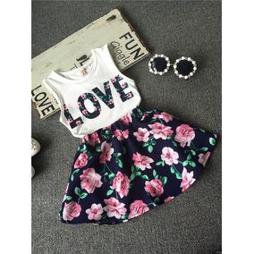 Conjunto Primavera Verano Niñas Falda Blusa Ropa Moderna