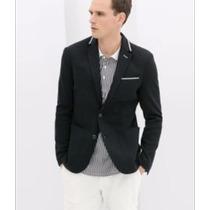 Blazer Marca Zara Azul Cuello Polo