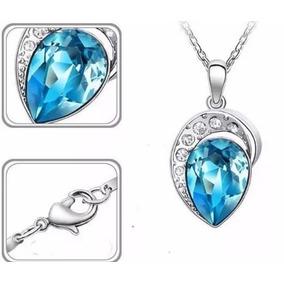 Colar Feminino Azul Prata Cristal Swarovski Semijóia
