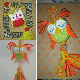 Búhos Lechuzas Tejidas Al Crochet Colgante Con Borlas.