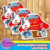 Invitaciónes Silueta Los Pitufos Para Imprimir Personalizada