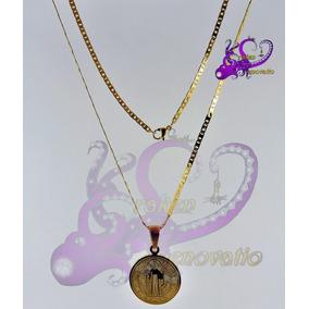 Medalla Dorada San Benito Acero Inox Cadena Plancha C/cajita