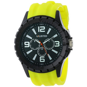 Reloj Unlisted By Kenneth Cole Yellow Silicone Men
