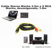 Zaud01 Cable Stereo Plug 3.5mm A Rca Blanco Y Rojo Computoys
