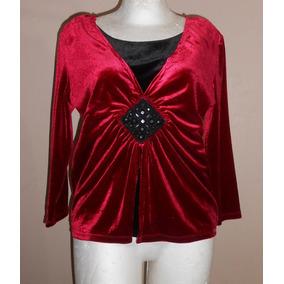 Notations! Preciosa Blusa De Terciopelo Color Vino, Talla S