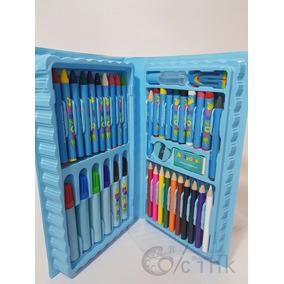 Estojo De Pintura Maleta Para Colorir 48 Peças , Azul Rosa