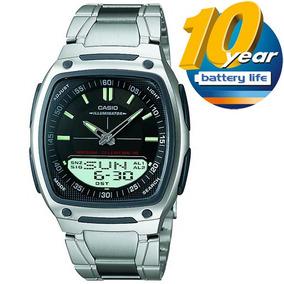 Relógio Masculino Casio Digital, Pulseira Aço - Aw-81d-1avdf
