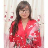 Sktk Peaflow Kimono Seda Satin Liviano Sensual Unico Kitty
