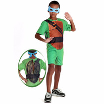 Fantasia Tartaruga Ninja Leonardo Infantil Com Mascara
