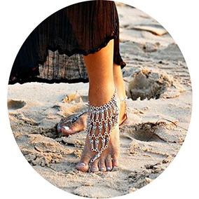 Pearlplus 1pair Vintage Boho Beach Foot Joyas Barefoot Sand