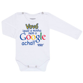Body Longo Para Bebe Em Suedine Google Vovó - Primeiras Pala
