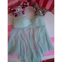 Victorias Secret The Blue Sky Baby Doll Cruzado Corto Sz M