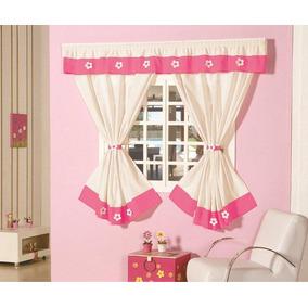 Cortina Julia Para Sala Ou Quarto Trilho Palha C/ Pink