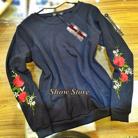 Blusa Frio Moleton Floral Feminino Importado Forrada 2834