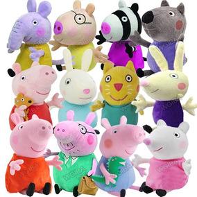 Kit Com 12 Pelucia Familia Peppa Pig + Amigos Da Peppa