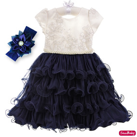 Vestido Infantil Princesa Realeza Marinho Daminha Luxo