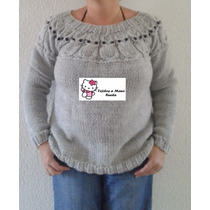 Sweater Lechuza Tejido A Mano Dos Agujas Lana
