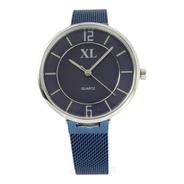 Reloj Xl Extra Large Dama Acero Plateado Azul Xl753 Xl754