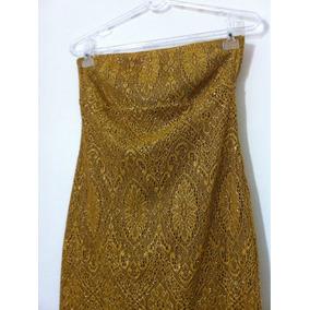 Vestido Tomara Que Caia Amarelo Dourado Rendado. Tam P