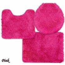 Jogo De Tapete De Banheiro Prime Pink 03 Peças Jolitex