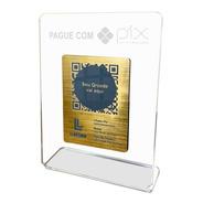 Placa Pix Para Pagamento Qrcode Em Acrílico Face Dourada