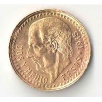 Mexico 2 E Meio Pesos Ano 1945 2,08 Gramas Ouro 900