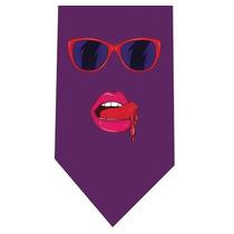 Corbata Labios Lentes Mujer 80s - Retro Pop Art - Magenta