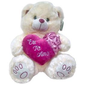Urso De Pelúcia Grande Lindíssimo Coração Eu Te Amo Creme