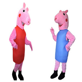 Mascote Peppa Pig E George Fantasia Boneco De Vestir Kit 2pç