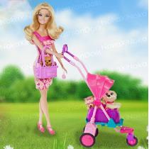 Lindo Carrinho De Passeio Com Cachorro Para Boneca Barbie