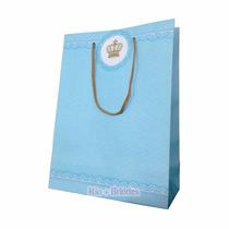 40 - Sacola De Papel Realeza Principe Coroa Azul 23x16x6cm
