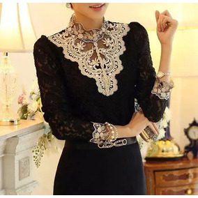 Hermosa Blusa De Encaje Negro Con Dorado, Moda Japonesa