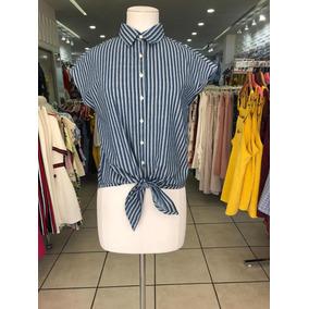 Blusa Michel Azul Con Lineas Blancas Con Amarre Abajo