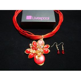 Collar Y Aretes Dama Piedras Y Oro Laminado De 14k Liverpool