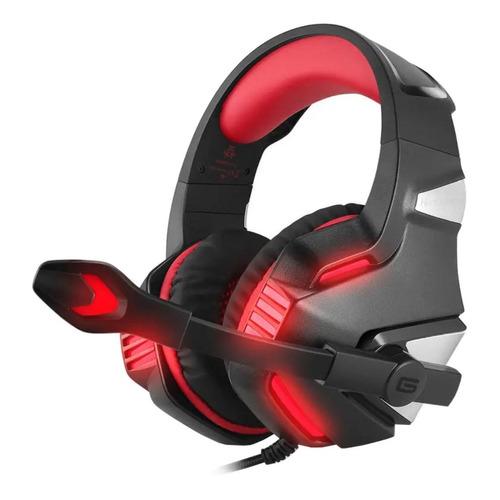 Audífonos gamer Hunterspider V3 negro y rojo con luz LED