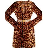 Vestido Barato De Malha Manga Comprida Social Leopardo