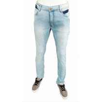 Calça Jeans Masculina Super Skinny Manchada Azul Claro